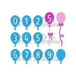 Set of Craft Dies Balloons with numbers