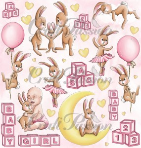 Cute Bunny Girl -  elements for cutting - scrapbooking paper 12''x12''