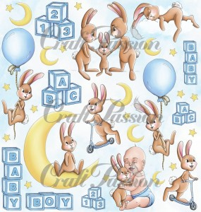 Cute Bunny Boy -  elements for cutting - scrapbooking paper 12''x12''
