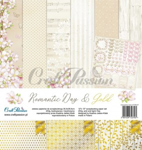 Romantic Day & Gold - scrapbooking paper set 12''x12''